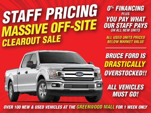 Bruce Staff Pricing Massive Off-Site Clearance Sale