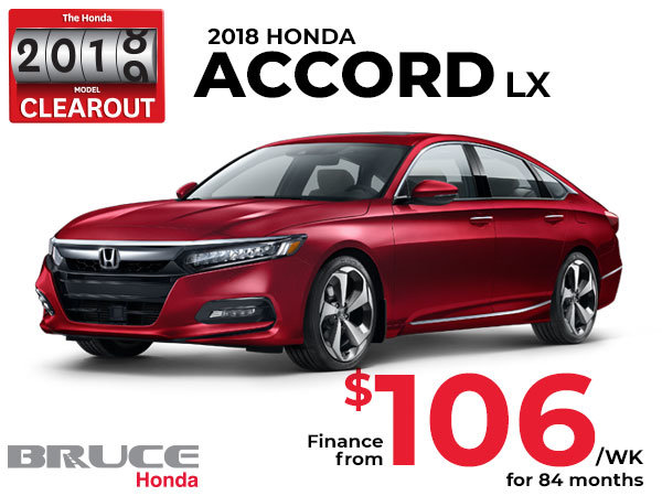 Finance the 2018 Honda Accord LX for Just $106 Weekly