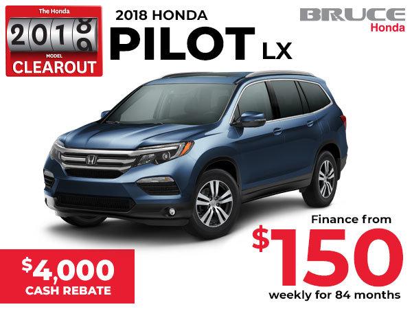 $4,000 Cash Rebate on the 2018 Honda Pilot LX
