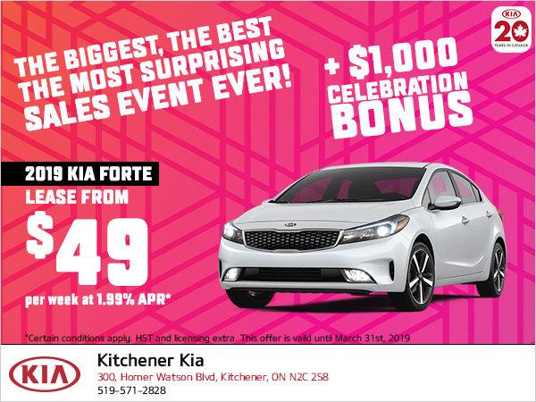 Kia Celebration Sale - 2019 Forte
