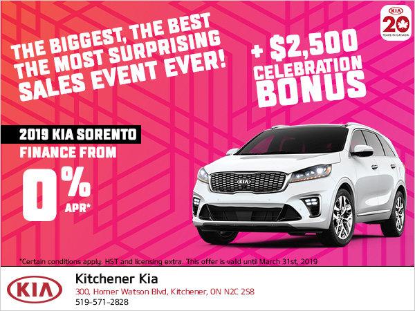 Kia Celebration Sale - 2019 Sorento