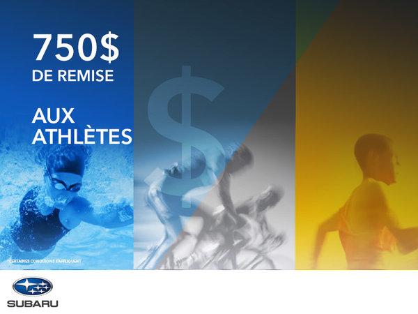 750$ de remise aux athlètes