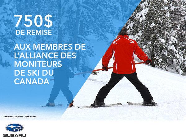 750$ de remise aux membres de l'Alliance des moniteurs de ski du Canada