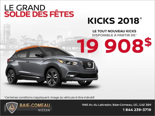 Obtenez le Nissan Kicks 2018 dès aujourd'hui!