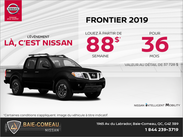 Obtenez le Nissan Frontier 2019 dès aujourd'hui!