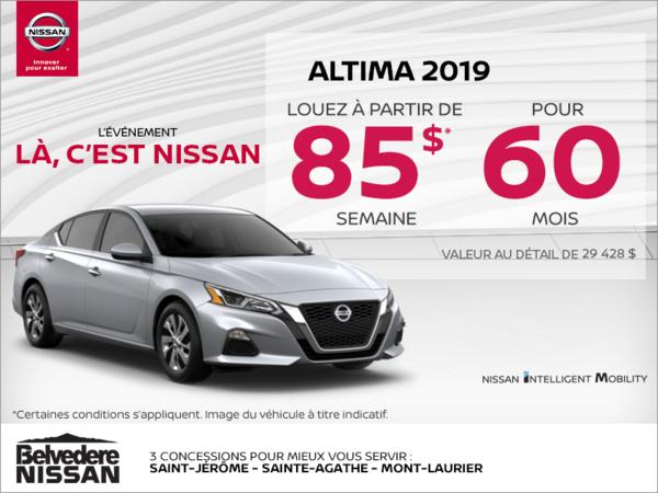 Obtenez la Nissan Altima 2019 dès aujourd'hui!