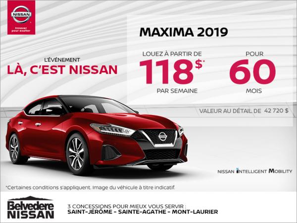 Obtenez la Nissan Maxima 2019 dès aujourd'hui!