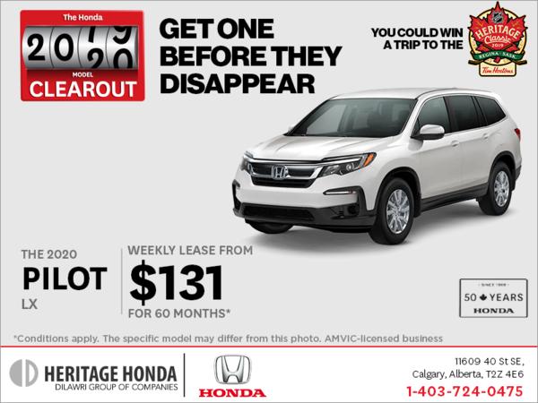 Get a 2020 Honda Pilot Today!