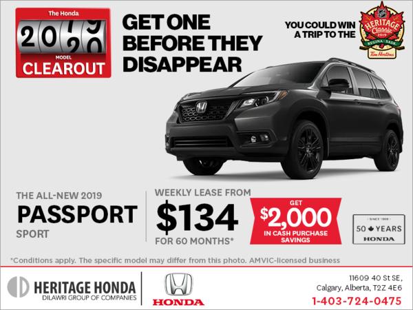 Lease a 2019 Honda Passport Today!