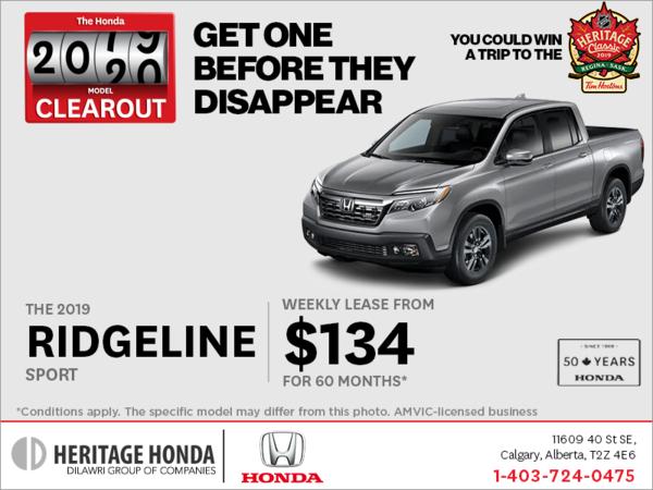 Lease a 2019 Honda Ridgeline Today!