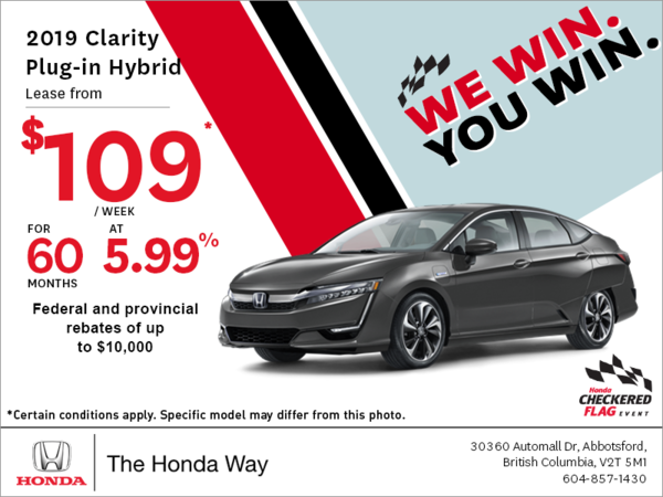 Get the 2019 Honda Clarity Plug-in Hybrid Today!
