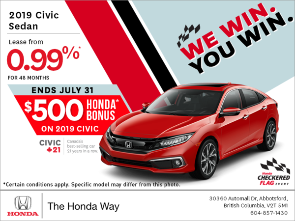 Get the 2019 Honda Civic Today!
