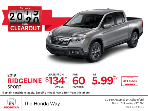 Lease the 2019 Honda Ridgeline Today!
