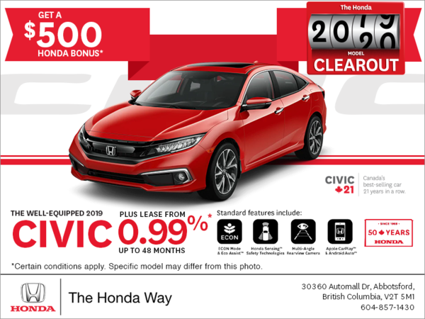 Lease the 2019 Honda Civic Today!