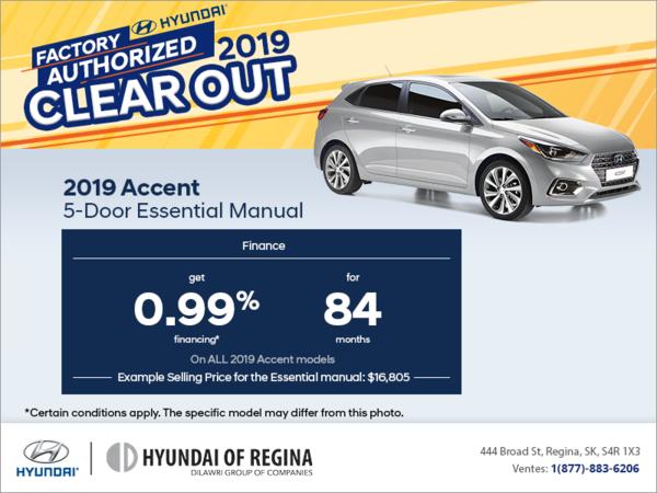 Finance the 2019 Accent 5-Door!