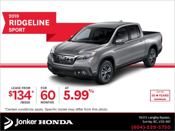 Lease the 2019 Honda Ridgeline Today!