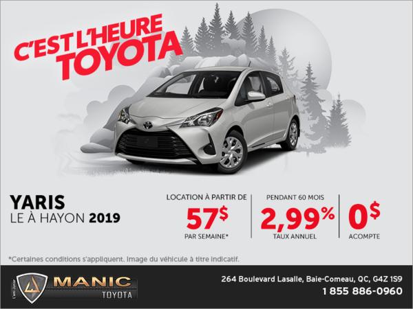 Toyota Yaris à hayon 2019