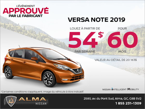 Louez la Nissan Versa Note 2019 dès aujourd'hui!