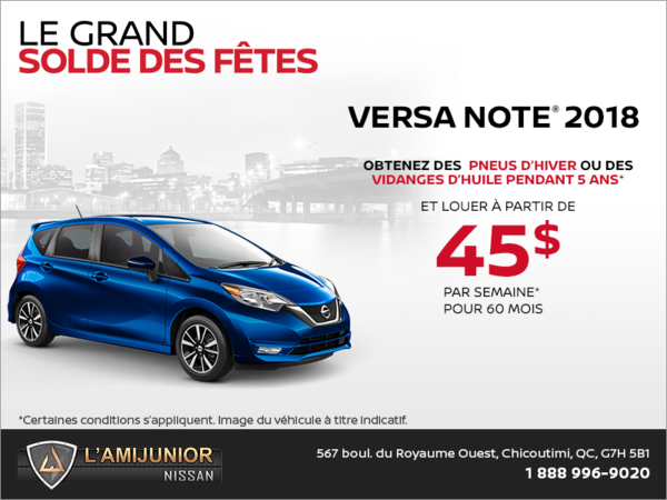 Obtenez le Nissan Versa Note 2018 dès aujourd'hui!