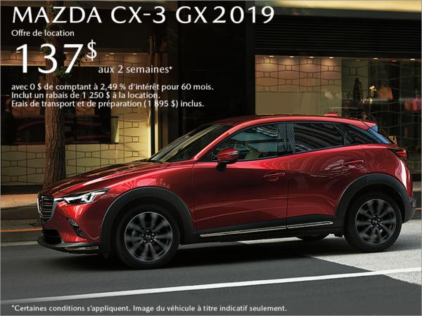 Procurez-vous le Mazda CX-3 2019 aujourd'hui!