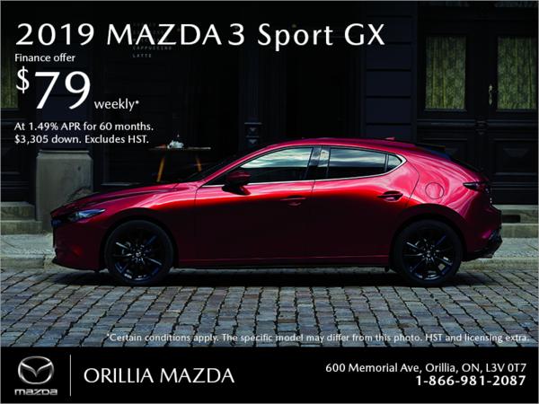 Orillia Mazda - Get the 2019 Mazda3 Sport Today!