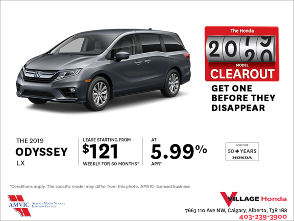 Lease a 2019 Honda Odyssey Today!