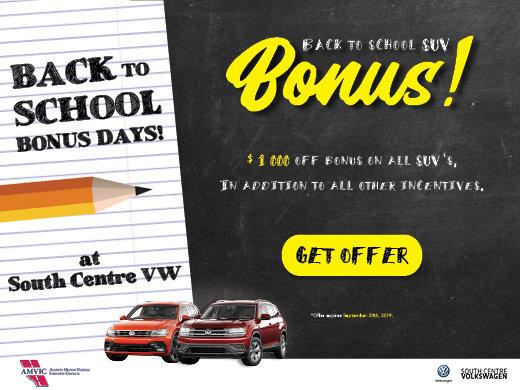 Back to School Bonus $1,000 off SUVs!