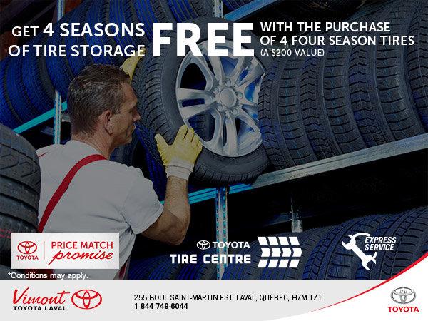 4 FREE Seasons Of Tire Storage