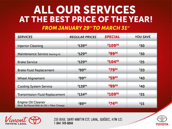 All our services at the best price of the year!