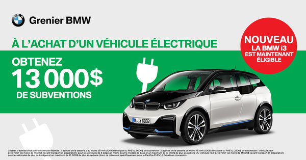 BMW i3 Subvention de 13000$!