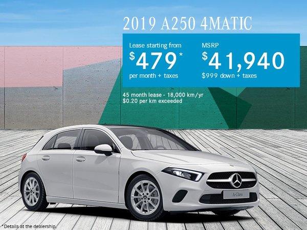 Mercedes Benz Lease Deals 0 Down >> 2019 A250 4matic Mercedes Benz De Quebec