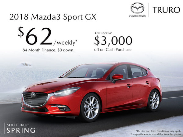 Truro Mazda - 2018 Mazda3 Sport As Low As $62 Weekly