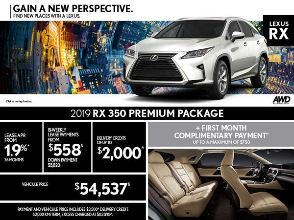 2019 RX 350 - August promotion