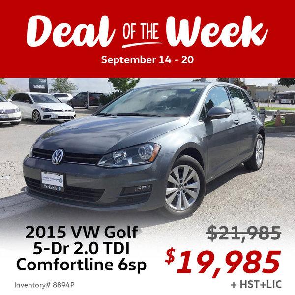 $2,000 off 2015 Volkswagen Golf 5-Dr 2.0 TDI Comfortline 6sp