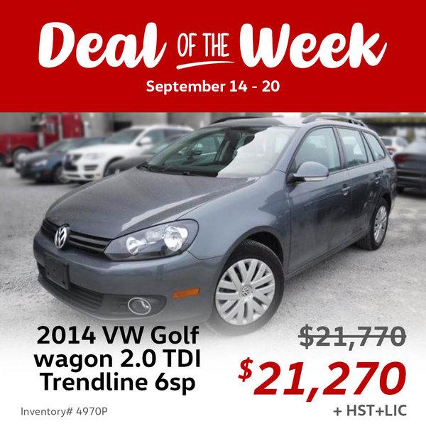 Save $500 on this LOW mileage 2014 Volkswagen Golf wagon 2.0 TDI Trendline 6sp