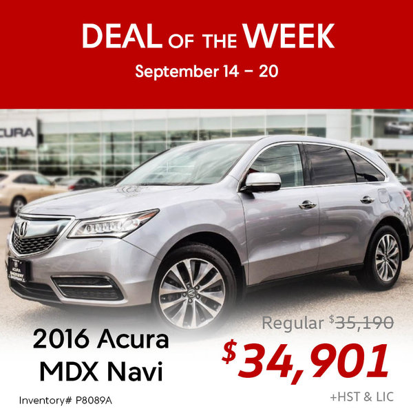 One week only! Save on this 2016 Acura MDX Navigation Package