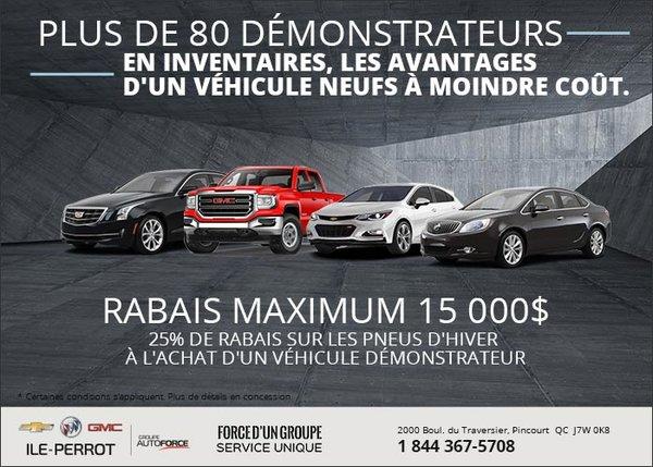 Obtenez jusqu'à 15 000$ de rabais sur les véhicules démonstrateurs!