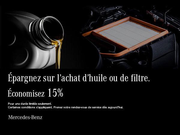 Épargnez 15% sur l'huile et le filtre.