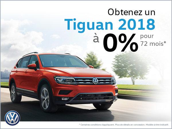 Obtenez le Tiguan 2018 à 0%!