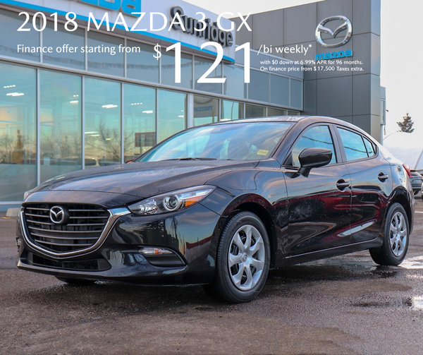 Get a 2018 Mazda3 GX today!