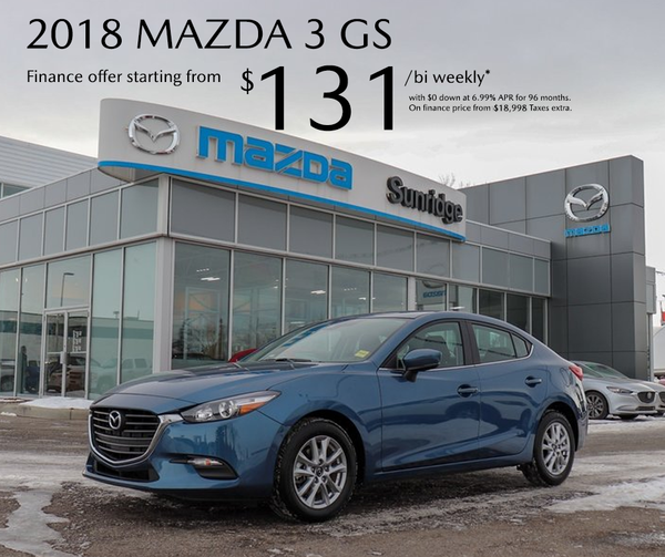 Get a 2018 Mazda3 GS today!