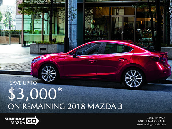 Save up to $3,000 on 2018 Mazda 3