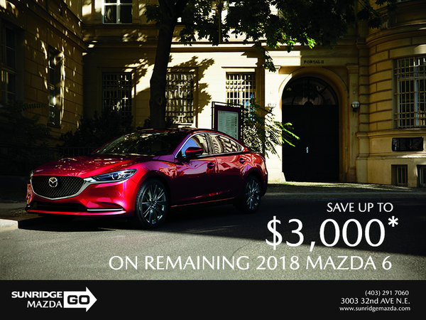 Save up to $3,000 on 2018 Mazda 6