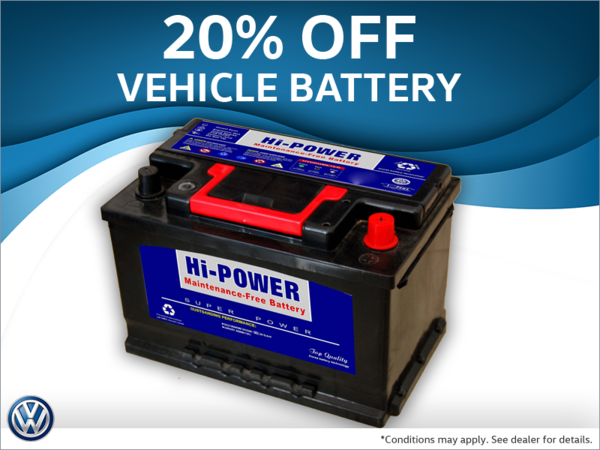 20% off vehicle batteries