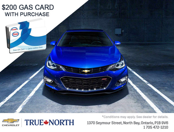 $200 Gas Card on all in-stock 2018 Chevrolet Cruze!
