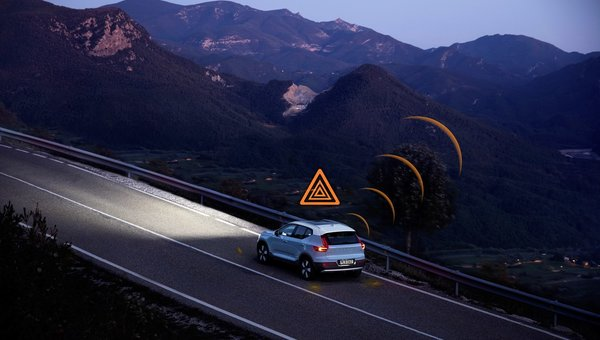 Volvo models across Europe to warn each other of slippery roads and hazards