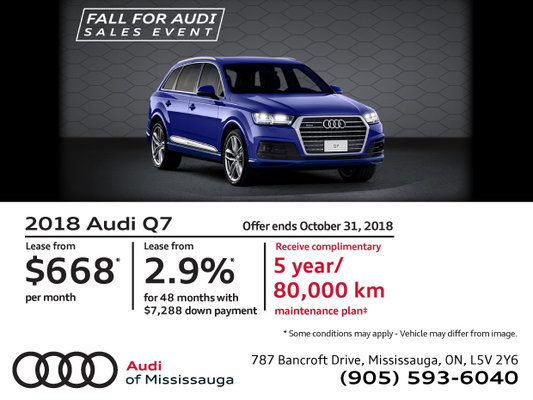 Audi Q7 Fall For Audi Sales Event Audi Of Mississauga Promotion