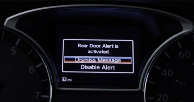 NEW NISSAN CANADA REAR DOOR ALERT SYSTEM REMINDER TO DRIVERS TO CHECK BACK SEAT