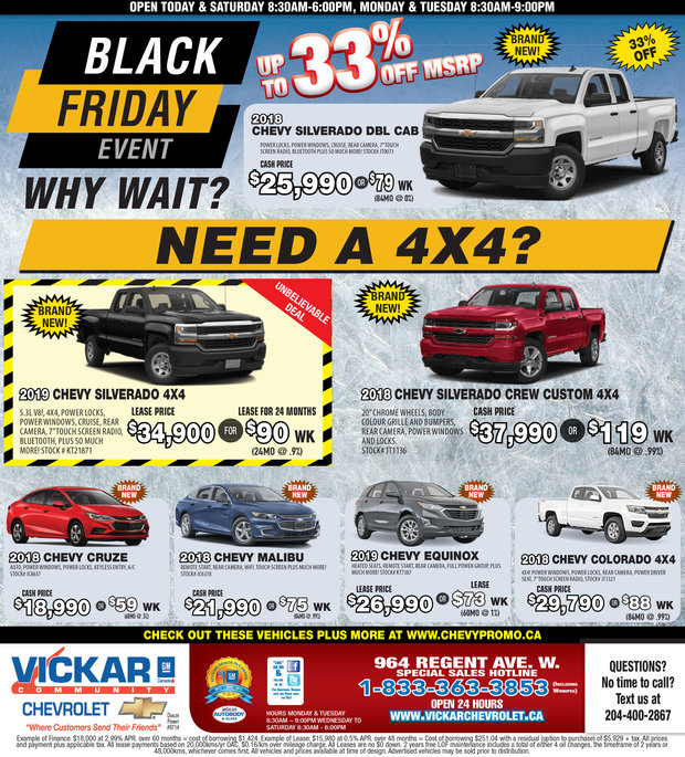 Black Friday Event Chez Vickar Community Chevrolet Winnipeg
