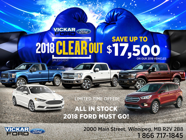 Vickar Ford 2018 Clearout Sales Event!